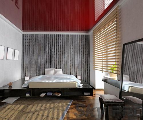 Установка натяжного потолка в спальне в Шимске